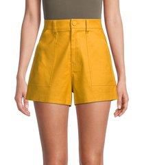 7 for all mankind women's high-waist linen-blend shorts - golden sunburst - size 8