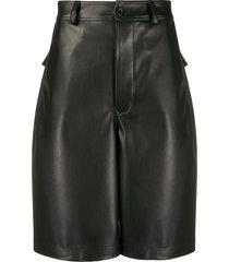 rick owens drkshdw textured wide leg shorts - black