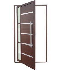 porta pivotante direita com lambri e puxador em alumínio miraggio 210x120cm cortem