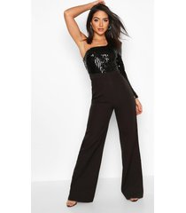 one shoulder sequin wide leg jumpsuit, black