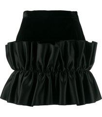 christopher kane velvet frill mini skirt - black