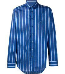etro vertical stripe logo embroidered shirt - blue
