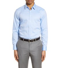 men's nordstrom extra trim fit non-iron solid stretch dress shirt, size 17.5 - blue