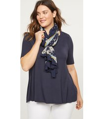 lane bryant women's floral dot scarf onesz new navy