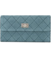 chanel pre-owned 2012-2013 quilted cc logos bifold purse - blue