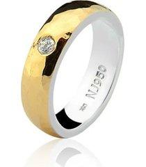 aliança mista ouro 18k e prata 925 elegance natalia joias alm-199