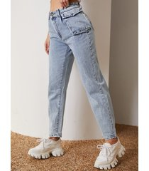 dobladillo recto de cintura alta con bolsillo lateral jeans