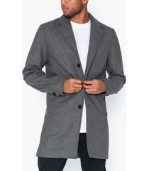 solid fayette faux wool jacket jackor grey melange