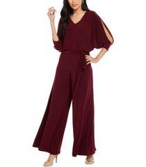 msk petite embellished split-sleeve jumpsuit