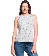 camiseta slim mini print gris jaspe medio