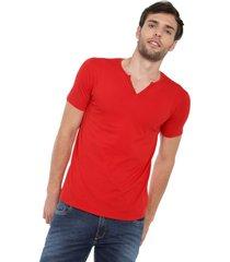 camiseta con botones de hombre licrada - rojo polovers