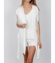 pyjama's / nachthemden admas zachte saten negligee wit