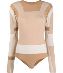 mm6 maison margiela paneled colour block bodysuit - neutrals