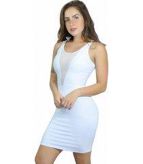 vestido racy modas tubinho com tule branco