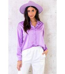 satijnen blouse lila