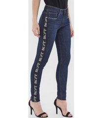 calça jeans my favorite thing(s) skinny aplicações azul-marinho