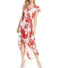 julia jordan high/low floral wrap dress, size 12 in ivory/red at nordstrom
