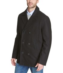 tommy hilfiger men's wool blend peacoat with scarf