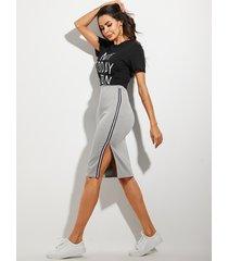 falda de cintura alta con diseño de hendidura gris yoins
