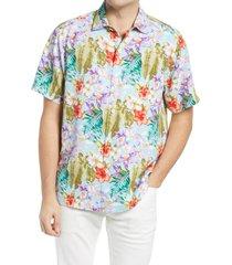 men's tommy bahama botanics men's floral short sleeve button-up silk shirt, size xx-large - blue
