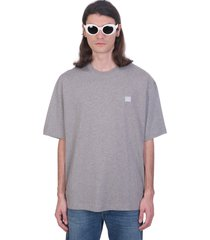 acne studios exford face t-shirt in grey cotton