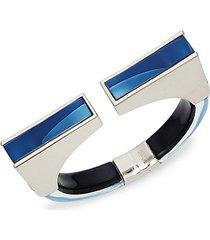 rhodium-plated & lucite cuff bracelet