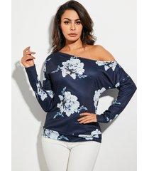 yoins azul marino floral one camiseta de manga larga con hombros descubiertos