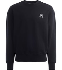 black ami broderie sweatshirt with embroidered logo