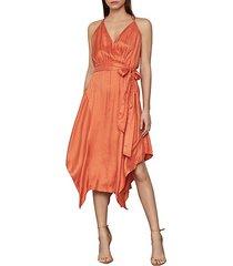 dot-print faux wrap satin dress