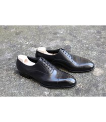 handmade mens black  oxford cap toe  dress shoes, men real leather formal shoes