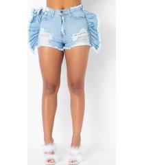 akira mya ruffle denim shorts