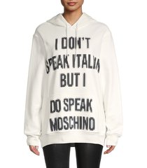 moschino women's pix letters oversized hoodie - white - size xs