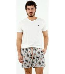 pantaloneta de baño de hombre, silueta confort, con estampado de conchas y caracoles