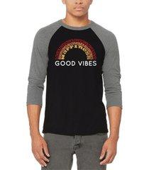 men's good vibes raglan baseball word art t-shirt