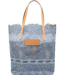 ermanno scervino floral lace shopper tote - blue