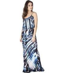 vestido longo estampado calvin klein