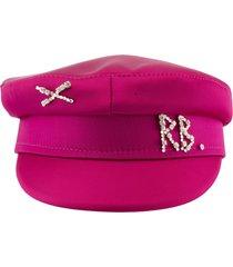 ruslan baginskiy crystal embellished satin baker boy cap deep pink