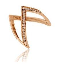anel arial rosa com diamante chocolate