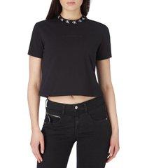 camiseta de algodón orgánico con cuello con el logo negro calvin klein