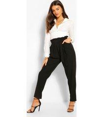 broek met rechte pijpen en geplooide taille, black