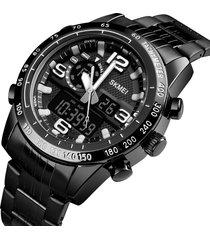 orologio da uomo di cronometro di lusso in acciaio inossidabile dual disaplay digital watch
