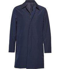 compact nylon zip ca dunne lange jas blauw calvin klein