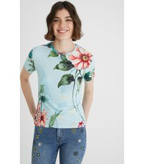 fine ribbed floral t-shirt - blue - xl