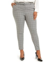 calvin klein plus size belted windowpane-print slim-leg pants