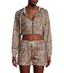 la moda clothing women's leopard print cropped hoodie - leopard print - size s