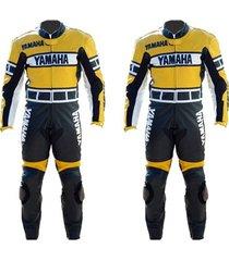 yamaha biker racing yellow leather suit jacket pants safety protected men