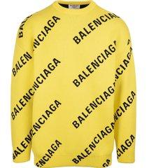 balenciaga unisex yellow allover logo crewneck pullover