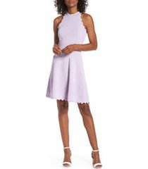 women's eliza j scalloped fit & flare sweater dress