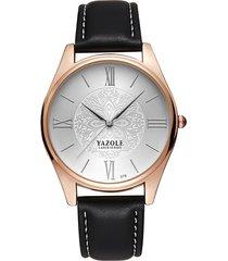 yazole minimalista orologi di lusso in pelle motivo decorativo orologio da polso al quarzo regalo per gli uomini