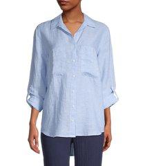 pure navy women's long-sleeve linen shirt - mila stripe - size xs